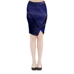 Christmas Tree Blue Stars Starry Night Lights Festive Elegant Midi Wrap Pencil Skirt