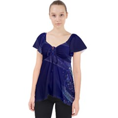 Christmas Tree Blue Stars Starry Night Lights Festive Elegant Lace Front Dolly Top
