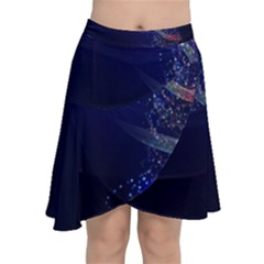 Christmas Tree Blue Stars Starry Night Lights Festive Elegant Chiffon Wrap