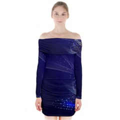 Christmas Tree Blue Stars Starry Night Lights Festive Elegant Long Sleeve Off Shoulder Dress