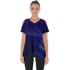 Christmas Tree Blue Stars Starry Night Lights Festive Elegant Cut Out Side Drop Tee