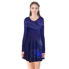 Christmas Tree Blue Stars Starry Night Lights Festive Elegant Flare Dress