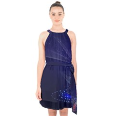 Christmas Tree Blue Stars Starry Night Lights Festive Elegant Halter Collar Waist Tie Chiffon Dress