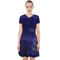 Christmas Tree Blue Stars Starry Night Lights Festive Elegant Adorable In Chiffon Dress