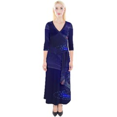 Christmas Tree Blue Stars Starry Night Lights Festive Elegant Quarter Sleeve Wrap Maxi Dress