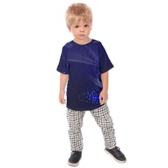 Christmas Tree Blue Stars Starry Night Lights Festive Elegant Kids Raglan Tee