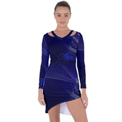 Christmas Tree Blue Stars Starry Night Lights Festive Elegant Asymmetric Cut Out Shift Dress