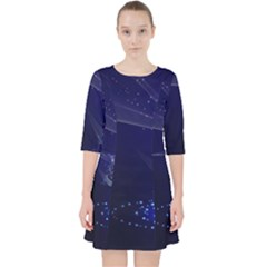 Christmas Tree Blue Stars Starry Night Lights Festive Elegant Pocket Dress