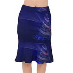 Christmas Tree Blue Stars Starry Night Lights Festive Elegant Mermaid Skirt