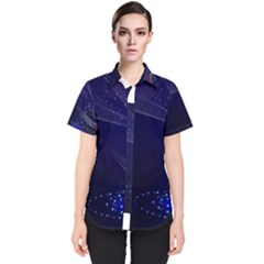 Christmas Tree Blue Stars Starry Night Lights Festive Elegant Women s Short Sleeve Shirt