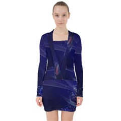 Christmas Tree Blue Stars Starry Night Lights Festive Elegant V Neck Bodycon Long Sleeve Dress