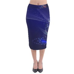 Christmas Tree Blue Stars Starry Night Lights Festive Elegant Velvet Midi Pencil Skirt