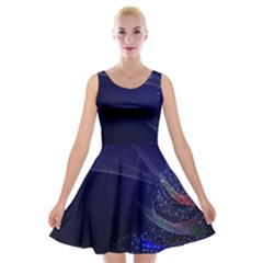 Christmas Tree Blue Stars Starry Night Lights Festive Elegant Velvet Skater Dress
