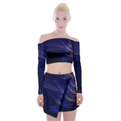 Christmas Tree Blue Stars Starry Night Lights Festive Elegant Off Shoulder Top With Mini Skirt Set