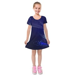 Christmas Tree Blue Stars Starry Night Lights Festive Elegant Kids  Short Sleeve Velvet Dress