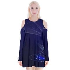 Christmas Tree Blue Stars Starry Night Lights Festive Elegant Velvet Long Sleeve Shoulder Cutout Dress