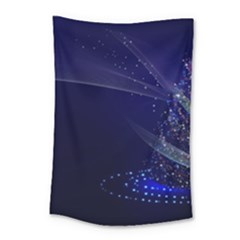 Christmas Tree Blue Stars Starry Night Lights Festive Elegant Small Tapestry