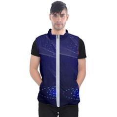 Christmas Tree Blue Stars Starry Night Lights Festive Elegant Men s Puffer Vest