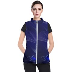 Christmas Tree Blue Stars Starry Night Lights Festive Elegant Women s Puffer Vest