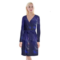 Christmas Tree Blue Stars Starry Night Lights Festive Elegant Long Sleeve Velvet Front Wrap Dress