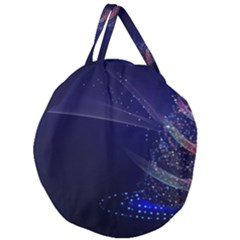 Christmas Tree Blue Stars Starry Night Lights Festive Elegant Giant Round Zipper Tote
