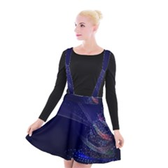 Christmas Tree Blue Stars Starry Night Lights Festive Elegant Suspender Skater Skirt