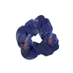 Christmas Tree Blue Stars Starry Night Lights Festive Elegant Velvet Scrunchie