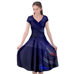 Christmas Tree Blue Stars Starry Night Lights Festive Elegant Cap Sleeve Wrap Front Dress