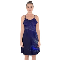 Christmas Tree Blue Stars Starry Night Lights Festive Elegant Ruffle Detail Chiffon Dress