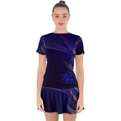 Christmas Tree Blue Stars Starry Night Lights Festive Elegant Drop Hem Mini Chiffon Dress