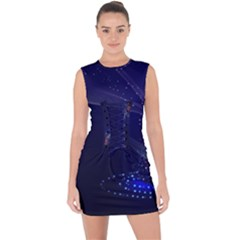 Christmas Tree Blue Stars Starry Night Lights Festive Elegant Lace Up Front Bodycon Dress