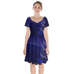 Christmas Tree Blue Stars Starry Night Lights Festive Elegant Short Sleeve Bardot Dress