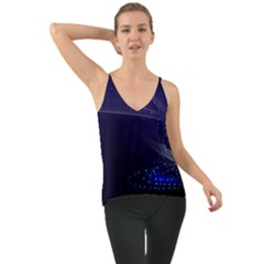 Christmas Tree Blue Stars Starry Night Lights Festive Elegant Cami