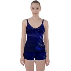 Christmas Tree Blue Stars Starry Night Lights Festive Elegant Tie Front Two Piece Tankini