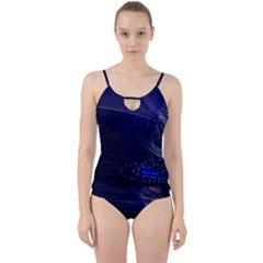 Christmas Tree Blue Stars Starry Night Lights Festive Elegant Cut Out Top Tankini Set