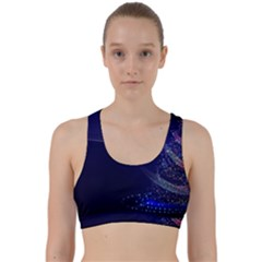 Christmas Tree Blue Stars Starry Night Lights Festive Elegant Back Weave Sports Bra