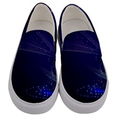 Christmas Tree Blue Stars Starry Night Lights Festive Elegant Men s Canvas Slip Ons