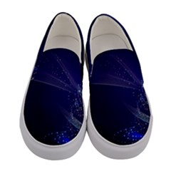 Christmas Tree Blue Stars Starry Night Lights Festive Elegant Women s Canvas Slip Ons