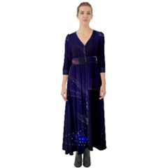 Christmas Tree Blue Stars Starry Night Lights Festive Elegant Button Up Boho Maxi Dress