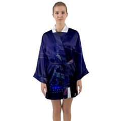 Christmas Tree Blue Stars Starry Night Lights Festive Elegant Long Sleeve Kimono Robe