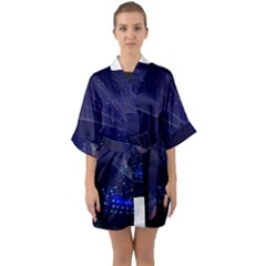 Christmas Tree Blue Stars Starry Night Lights Festive Elegant Quarter Sleeve Kimono Robe