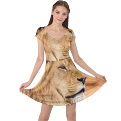 Big Male Lion Looking Right Cap Sleeve Dress