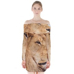Big Male Lion Looking Right Long Sleeve Off Shoulder Dress