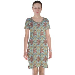 Hexagon Tile Pattern 2 Short Sleeve Nightdress
