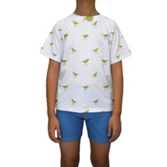 Birds Motif Pattern Kids  Short Sleeve Swimwear