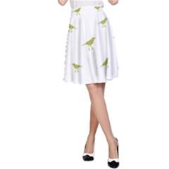 Birds Motif Pattern A Line Skirt