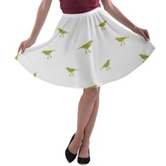 Birds Motif Pattern A Line Skater Skirt