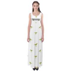 Birds Motif Pattern Empire Waist Maxi Dress