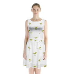 Birds Motif Pattern Sleeveless Waist Tie Chiffon Dress