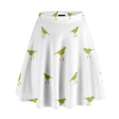 Birds Motif Pattern High Waist Skirt